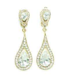 Vintage Inspired Crystal Clip-On Gold Long Dangle Earrings (Sparkle-2349-U) #Unbranded #ClipOn