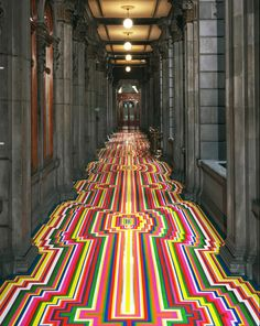Tape Art, Glasgow, Scotland-based artist Jim Lambie transforms spaces by turning the floors into geometric mazes of color bursts and visual stimulation. Tape Art, Jim Lambie, Floor Design, House Design, Design Room, Tape Installation, Flooring Installation, Instalation Art, Mexico City