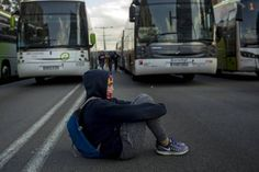 A girl during the 8 november 2017 general strike that paralyzed the country with numerous roadblocks to protest against the intervention of the Generalitat.