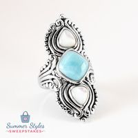 Just like clear blue skies and bright blue waters, this ring will have you dreaming of a tropical paradise! || 10mm Square Cushion Cabochon Larimar With Pear Shape Cabochon Mother Of Pearl Sterling Silver Ring [Promotional Pin]