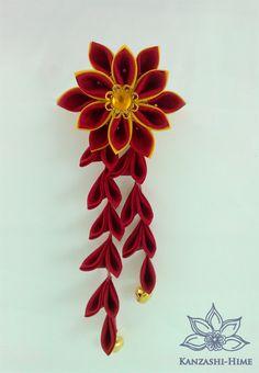 Red & Gold Japanese Hana Tsumami Kanzashi Hair Stick / Fork with Shidare Falls and Bells. $25.50, via Etsy.