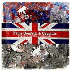 Jubilee - crown silver, red white & blue confetti
