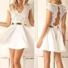 V-neck Open Back Lace Short Sleevees Short Dress - Meet Yours Fashion - 1