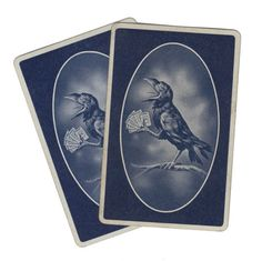 SPOOKY RAVEN CARD 2pcs Antique 1930s Game by cOveTableCuriOsitiEs