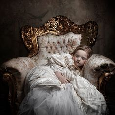 Little girl fell asleep in the throne... (just need a tiara falling off her…