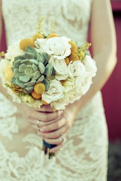 Succulent and Billy Ball Bouquet | Flowers by Hilary | www.ayellowsparrow.com