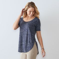 Women's SONOMA Goods for Life™ Marled Scoopneck Tee, Size: XXL, Blue