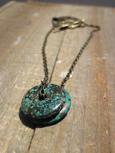 Simply Turquoise Brass and Turquoise necklace by CopperTreeArt, $25.00