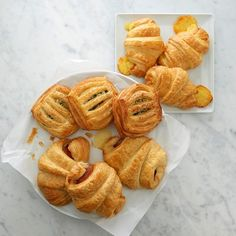 Savoury Croissants by chef Jean-Yves Charon. For Williams-Sonoma. Fillings: Spinach and feta, Black Forest ham and cheese, etc. $129.95 for 3 m'thly batches shipped. (As of November 2015.)