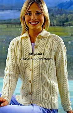 379 Ladies/ Teenage Girls Traditional Aran by HeirloomKnitPatterns Knit Cardigan Pattern, Cable Cardigan, Jacket Pattern, Collar Pattern, Grey Cardigan, Aran Jumper, Aran Sweaters, Irish Sweaters, Icelandic Sweaters