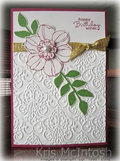 Kris McIntoch posted her card using the Secret Garden set and Lacy Brocade EF. I plan to make a get well card using a version of this layout.