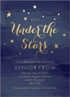 Watercolor Constellation Prom Invitation