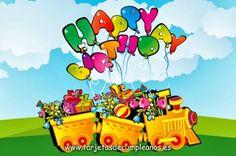 Tren cargado de regalos y flores para ti: Happy Birthday!
