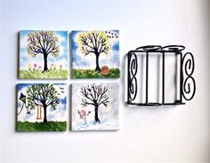Four Seasons Tree Coasters with Stand Set by GreenLeafStudiosEtsy
