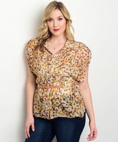 Womens Button Shirt PLUS SIZE 3XL Floral Sheer Kimono Sleeves Belt Front Pockets #JAJACO #ButtonDownShirt #Career