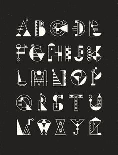 white color Bauhaus Typeface