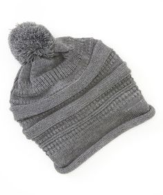 Another great find on #zulily! Gray Turban Pom-Pom Slouch Beanie by The Accessory Collective #zulilyfinds