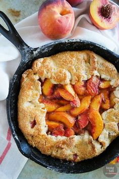 Sweet summer peaches fill this rustic pie baked in a cast iron skillet. This Cast Iron Peach Crostata Recipe will be on repeat during peach season!