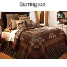 Barrington Quilt Bedding Collection in nature inspired colors of rust, tan and sage green gives a rustic cabin decor feel while the scalloped edge of the quilt softens the look. Barrington quilts are available in twin, queen and king size and a throw that doubles as a wall hanging. #Quilt #Bedding #Country #Lodge #Decor #DelectablyYours by paige
