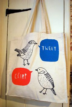 bird canvas tote bag by charlottefarmer1 on Etsy, $25.00