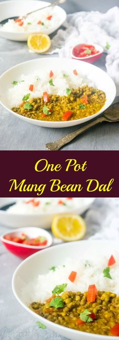 Easy one pot mung bean dal recipe that makes for a really delicious, comforting and healthy meal! This dal requires only a few basic ingredients and spices you might already have in your pantry. Mung Bean Dal Recipe, Moong Beans Recipe, Indian Beans Recipe, Moong Dal Recipe, Wslf Recipes, Bean Recipes, Indian Food Recipes, Vegetarian Recipes, Cooking Recipes