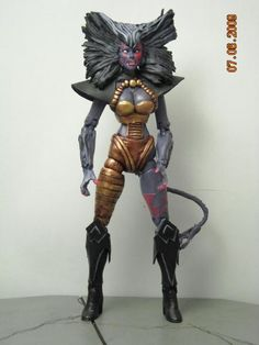 this is a marvel legends Deathcry Custom Action Figure she was made by jazz04porche he used a marvel girl and a lot of sculpting happy pinning