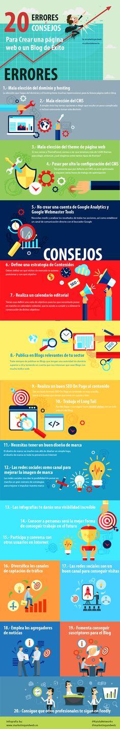 20 errores y consejos para crear una Web/Blog de éxito #infografia #marketing