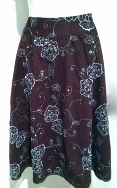 New AUTOGRAPH NEW YOR Bohemian Sequined Gypsy Embroidered Cotton Skirt Sz 6 | eBay