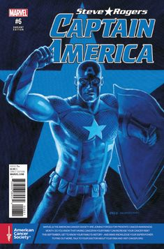 Captain America: Steve Rogers #6 Cancer Awareness Cover) Captain Marvel, Captain America, Comic Boards, Steve Rogers, Comic Covers, Super Powers, Cancer Awareness, Comic Art, Marvel Comics