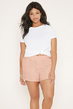 Forever 21 Plus size Pink  Lace Shorts 2X/3X | Clothing, Shoes & Accessories, Women's Clothing, Shorts | eBay!