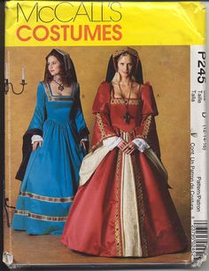 McCalls P245 Misses Medieval Tudor with Headpiece, more simple than simplicity pattern
