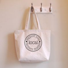 Support Your Local Farmers Market Tote-Bag - sunnymorningdesigns on etsy - #buylocal, #farmersmarkets