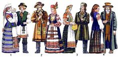 puhavicki style (1), liahavicki style (2), kapyl'ska-kliocki style (3), slucki style (4),