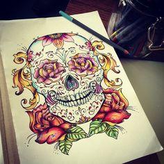 Tags mais populares para esta imagem incluem: skull, tattoo, drawing, art e flowers