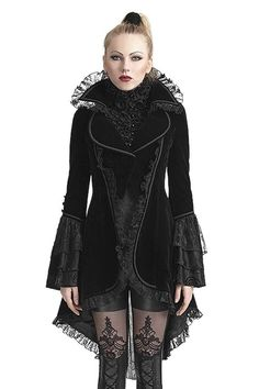 Melisandre gothic jacket by Punk Rave is made from black velvet and lined with satin-like fabric. The edges are trimmed with black braiding and black lace.