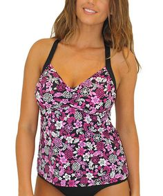 Look at this #zulilyfind! Pink Woodcut Tropical Sweetheart D-Cup Tankini Top by Fit 4 U! #zulilyfinds