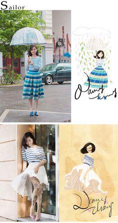 Nancy Zhang's sailor fashion illustrations