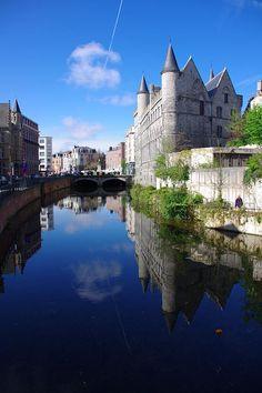 Geeraard De Duivelsteen, Castle of Gerald Devil (former prison) on River Scheldt, Ghent_ Belgium