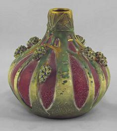 Art Nouveau  Paul Dachsel Purple Pine Cone Vase  Teplitz, Austria, 1906