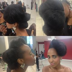 Natural hair updo nice for a wedding or special event