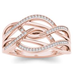 Twisting, turning and overlapping with a jaw-droppingly elegant look. Twirling ribbons of rose gold set with sparkling white diamonds form a dazzling open design, a brilliant option she'll adore.
