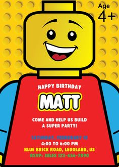 Is your child (or you) a Lego fanatic? If so, a Lego party is definitely the theme for this year's birthday party. Lego Themed Party, Lego Birthday Party, Birthday Cakes, Geek Birthday, 5th Birthday, Birthday Parties, Lego Ninjago, Lego Lego, Lego Birthday Invitations