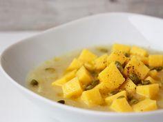 Un tesoro di zuppa Polenta, Vegan Vegetarian, Sweet Potato, Potatoes, Vegetables, Food, Potato, Essen, Vegetable Recipes