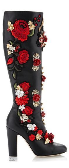 Dolce & Gabbana black knee high boots with red and white floral embroidery