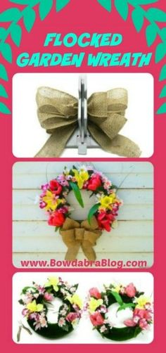 Flocked Garden Wreath DIY Tutorial. The colors are fun and vibrant and perfect for spring and summer.