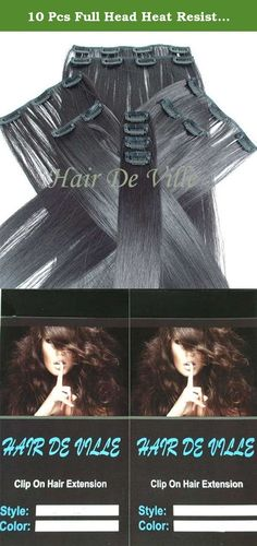 10 Pcs Full Head Heat Resistant Synthetic Clip In Hair Extensions Long 22 Inches 135 g Color #2 Dark Brown. Hair De Ville Hair Extension is a new technology in synthetic clip in hair extension, thermofibre hair that can be straightened and curled to a temperature of 180c. Increase hair length and fullness with these beautiful salon style hair wefts in second .You can also cut, blown dry or wash this type of hair and it is designed to look and feel just like human hair. This hair is really...