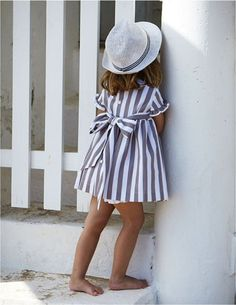 Sweet striped summer dress with bow detail