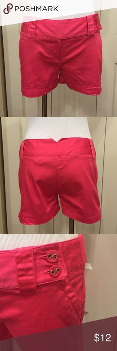 """Hot Pink Shorts These shorts are in EUC. They have a 3"""" inseam. The buttons secure through one belt loop. They also have a zipper and hidden button inside. They pair well with the Lilly Pulitzer Button Down. Remember to bundle and save! Outlooks Shorts"""