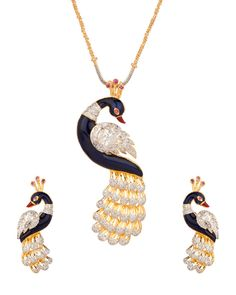 Peacock Styled Cz Pendant Set With Striking Enamel Work #Peacock #PendantSet