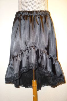 SKIRT FISHTAIL BLACK SATIN BURLESQUE  GOTHIC DRESS CUSTOM MADE SIZE 8 22 NEW